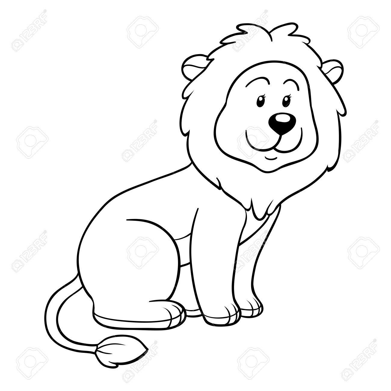 Libro Para Colorear (león) Ilustraciones Vectoriales, Clip Art