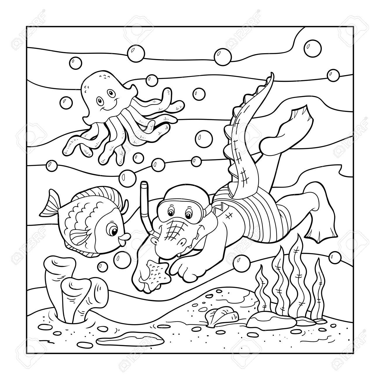 Libro Para Colorear (buzo Cocodrilo, Fondo Del Océano) Ilustraciones ...