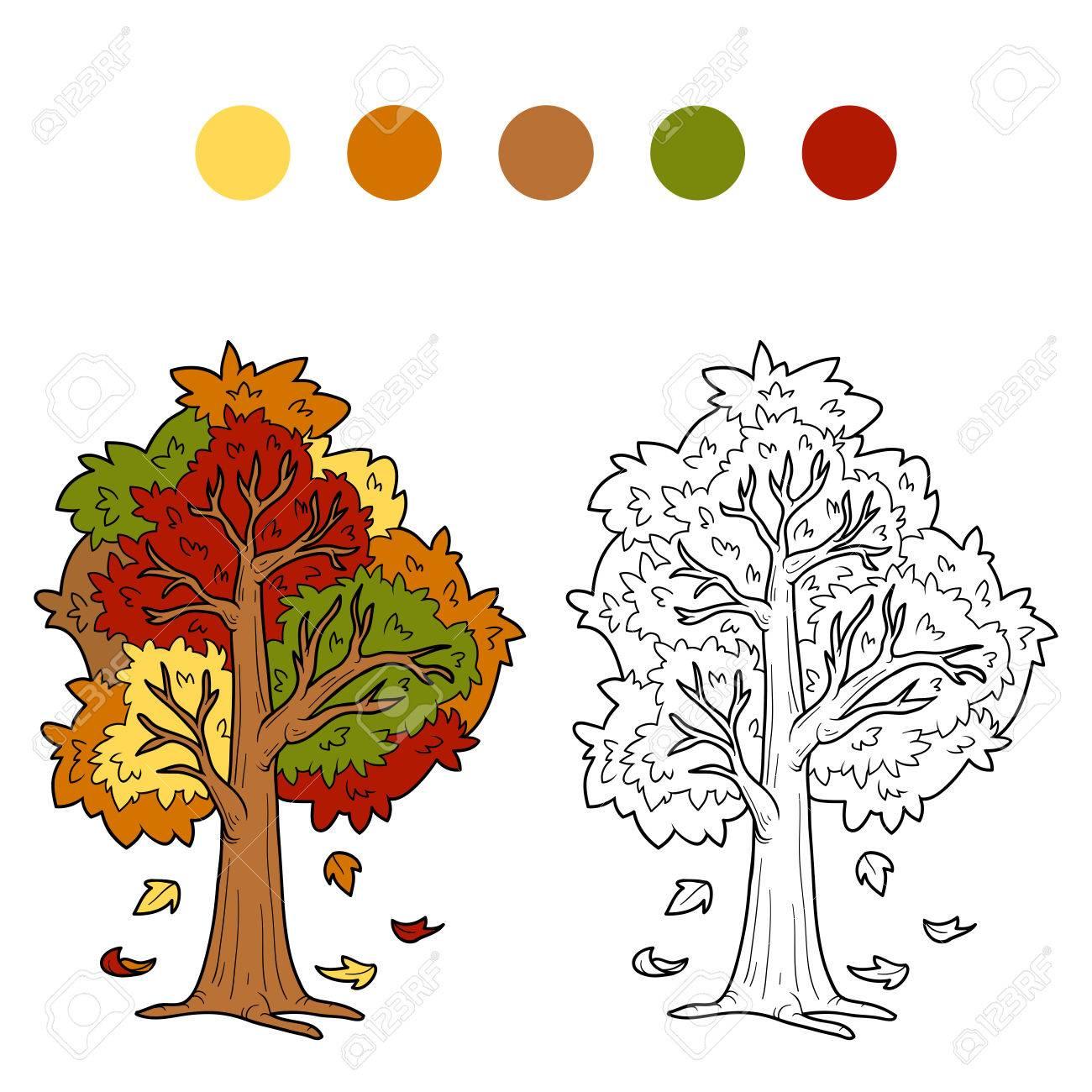 Libro Para Colorear árbol De Otoño
