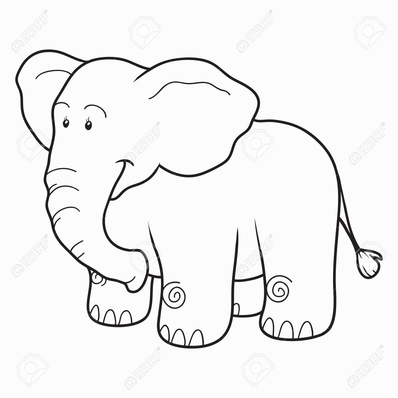 Coloring Book Elephant Stock Vector
