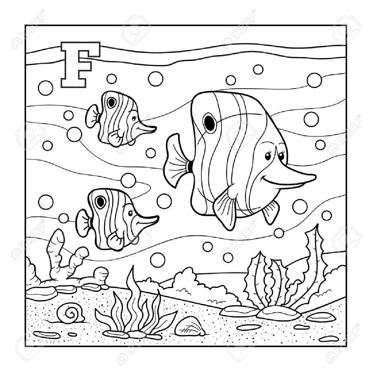 Libro Para Colorear (pescado), Alfabeto Incoloro Para Los Niños ...