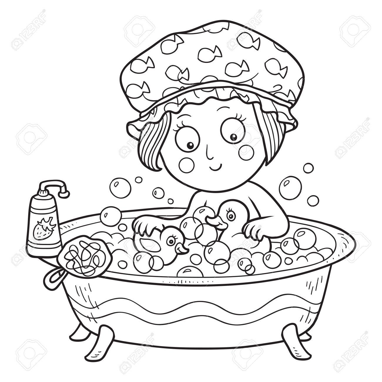 Libro Para Colorear Niña En El Baño