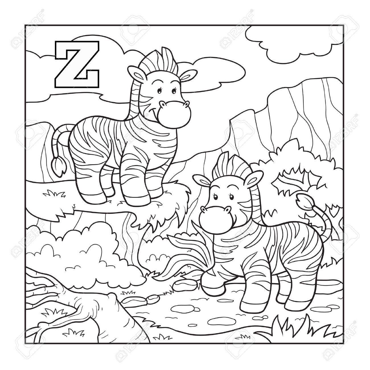 Coloring Book (zebra), Colorless Alphabet For Children: Letter ...
