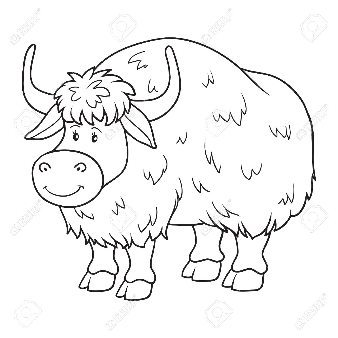 Coloring pages yak - Coloring Book Yak Stock Vector 37580255