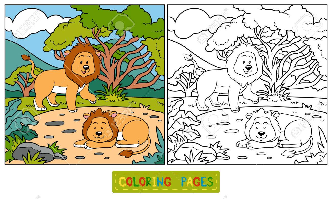 Coloring Book Lions Stock Vector