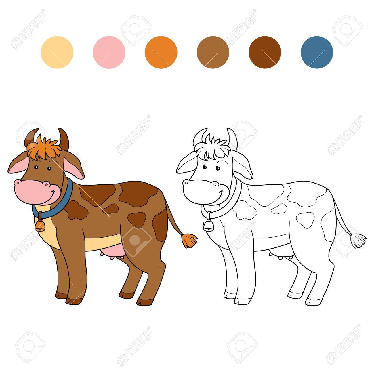 Juego Para Los Niños: Libro Para Colorear (vaca) Ilustraciones ...