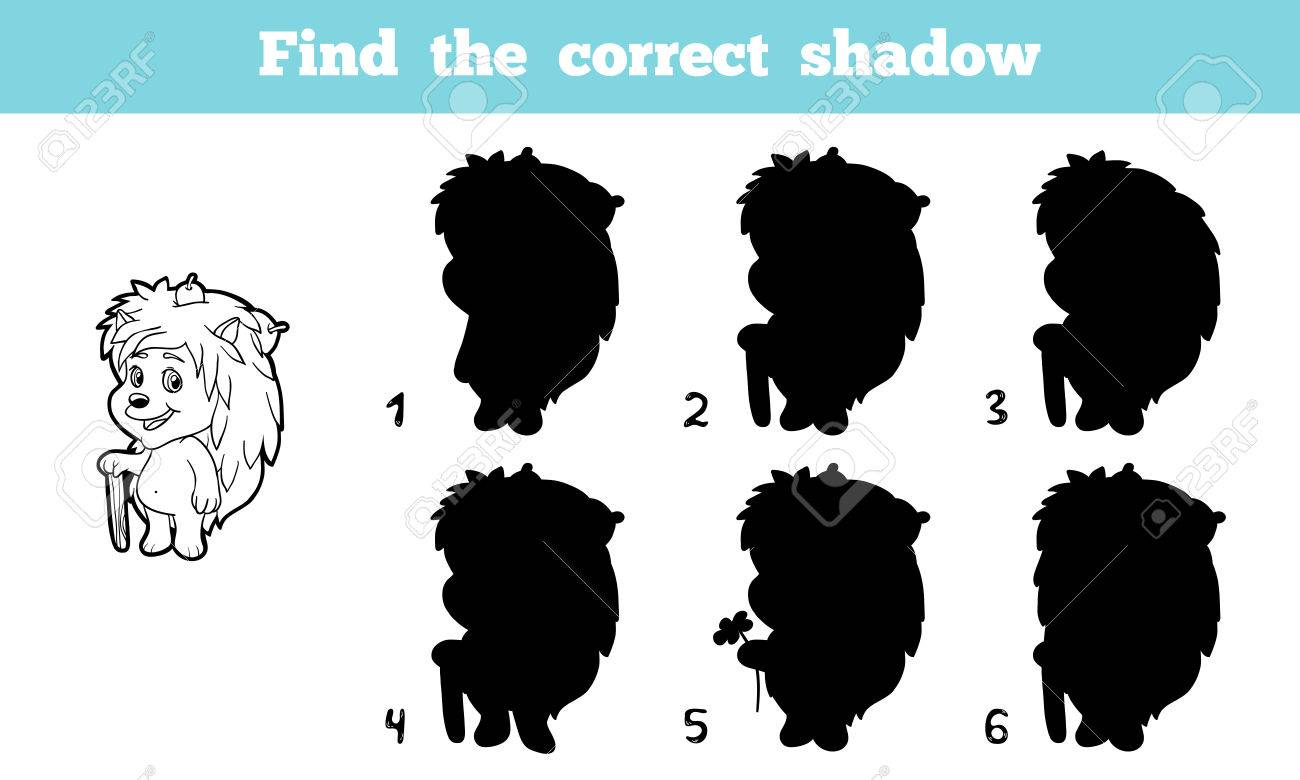 Game for children: Find the correct shadow (hedgehog)