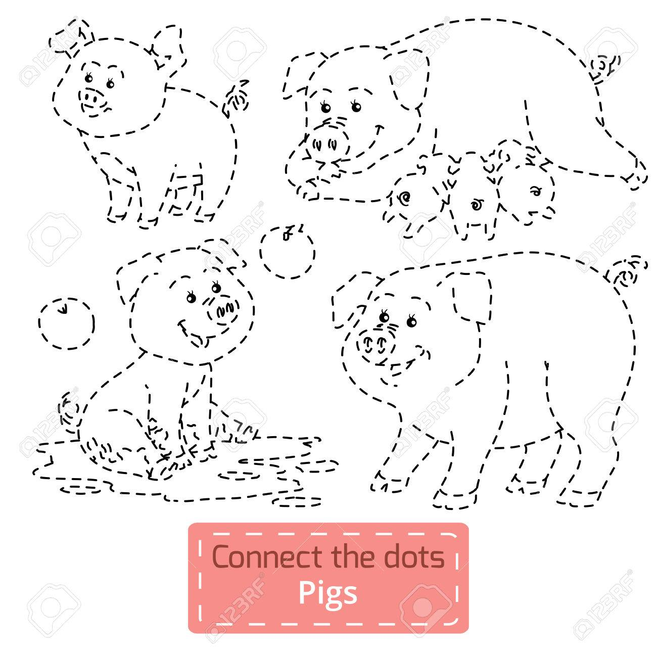 Connect The Dots farm Animals Set, Pig Family Royalty Free ...
