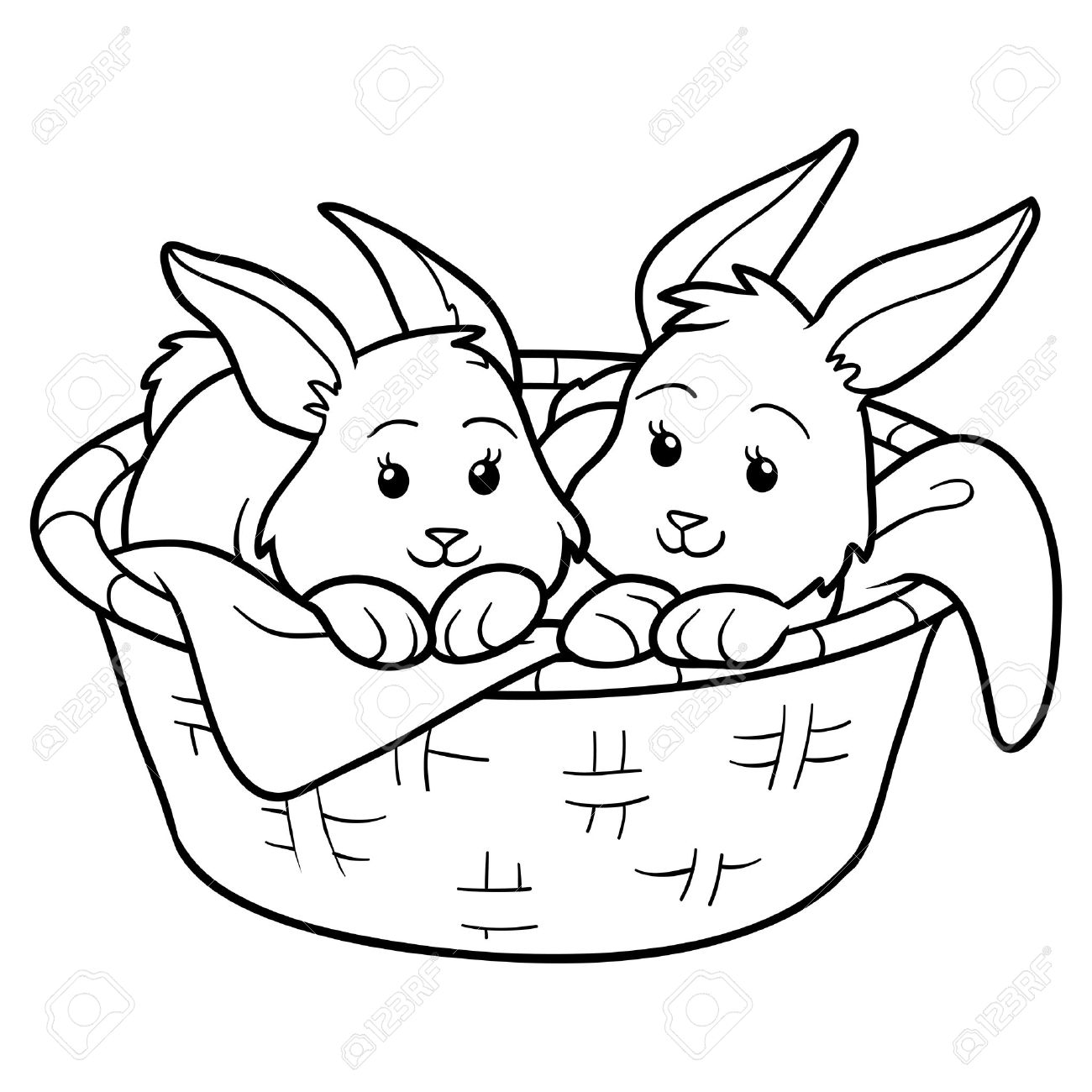 Game For Children Coloring Book Rabbits In Basket Stock Vector