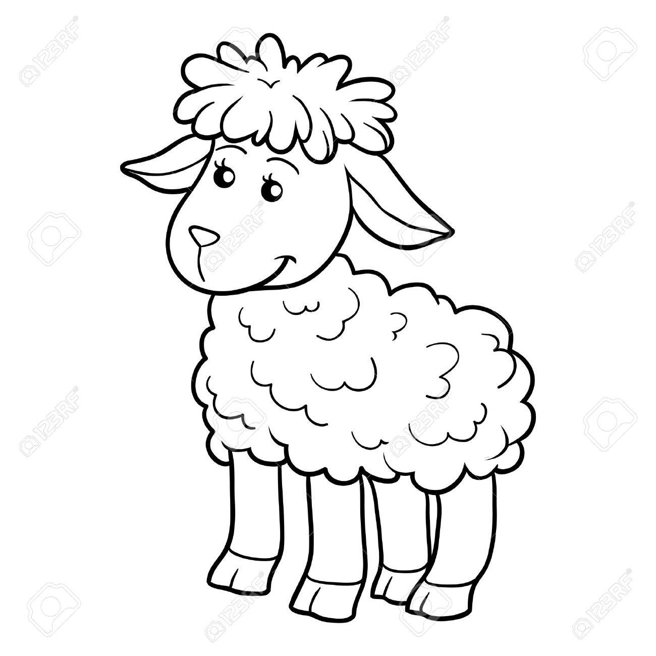 Game for children: Coloring book (sheep)