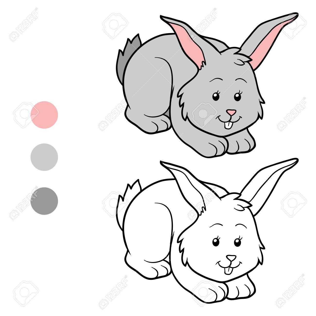 coloring book rabbit pictures : Game For Children Coloring Book Rabbit Stock Vector 40774338