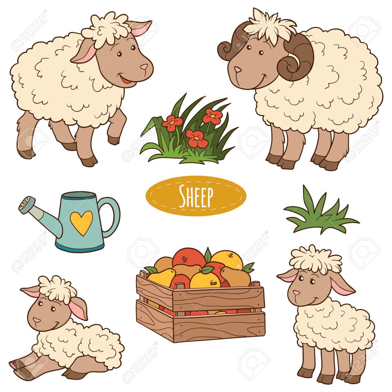 Fabuleux Ensemble Des Animaux Et Des Objets De La Ferme Mignon, Moutons De  FF82