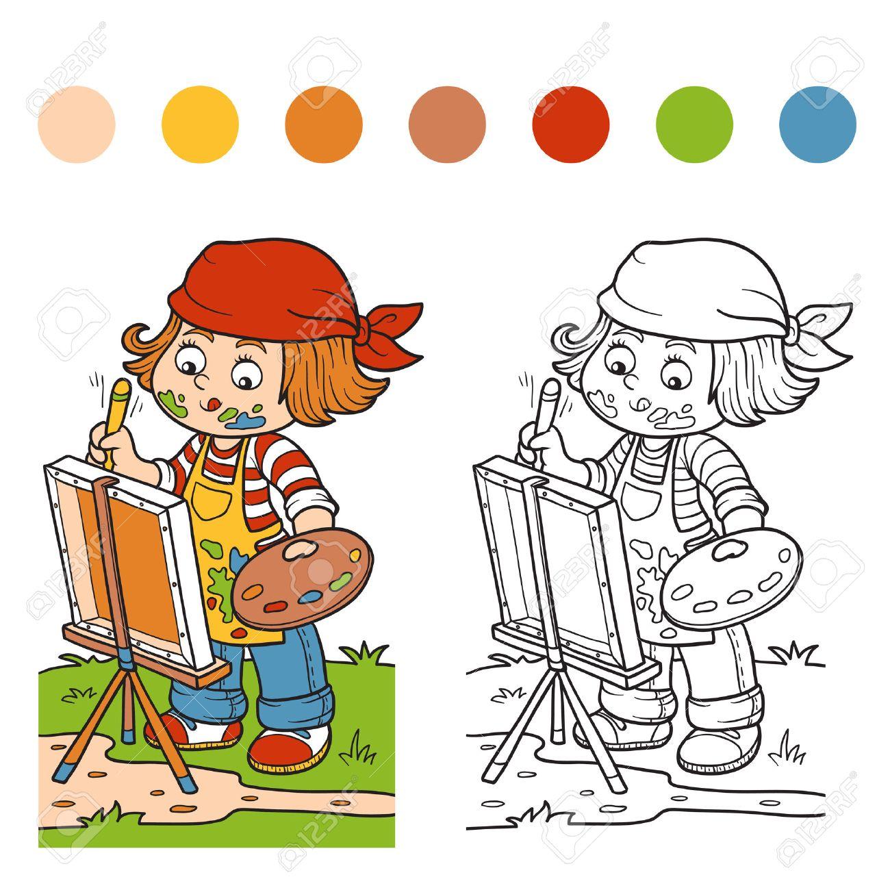 Libro Para Colorear Para Los Niños (artista Chica Se Basa En La ...