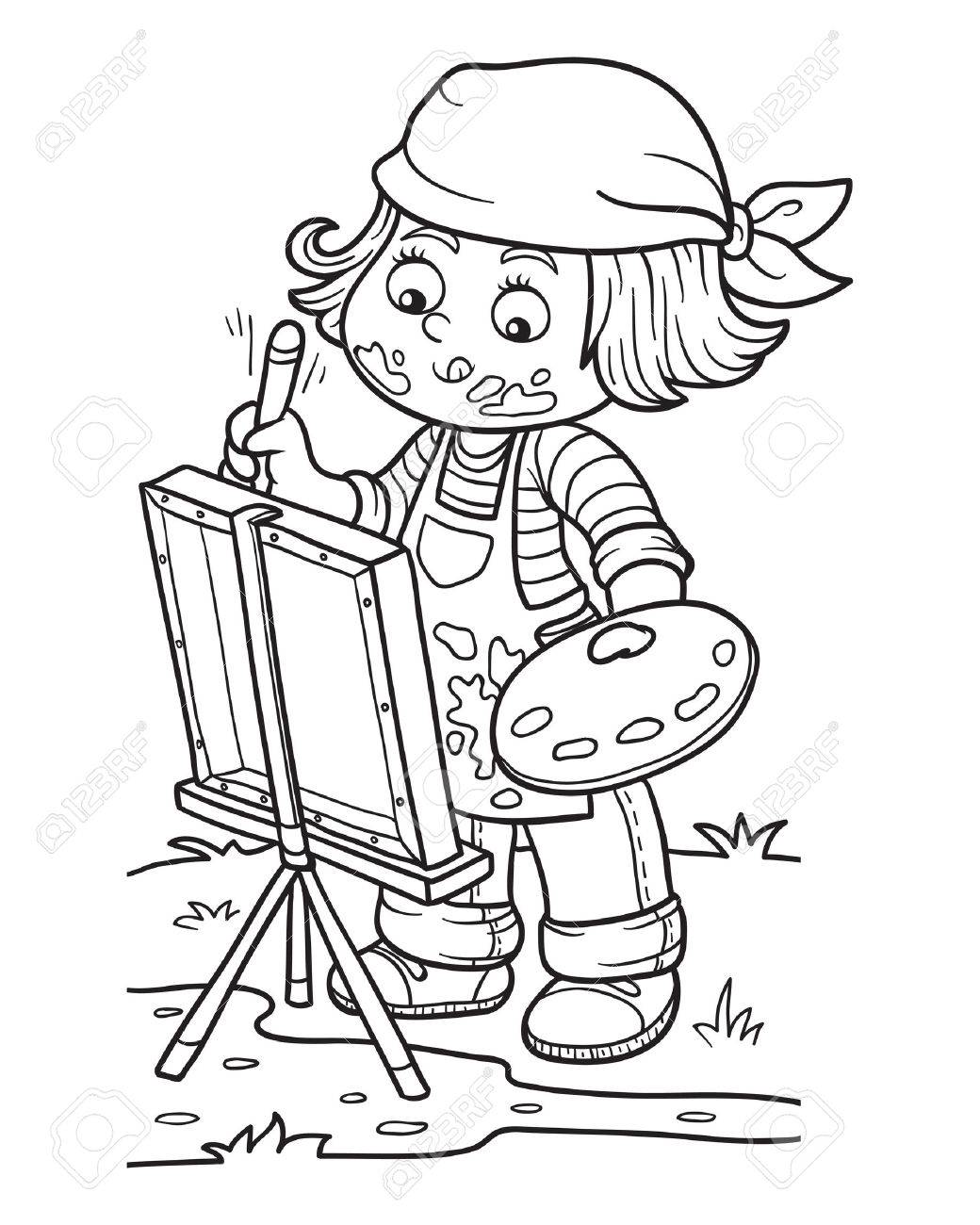 Coloring book for girl - Coloring Book For Children Girl Artist Draws On Nature Open Air Stock Vector
