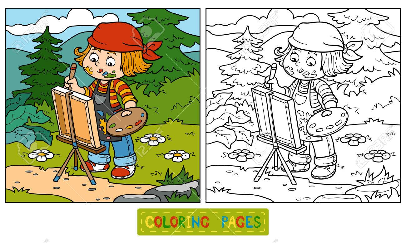 coloring book for children artist draws on nature open