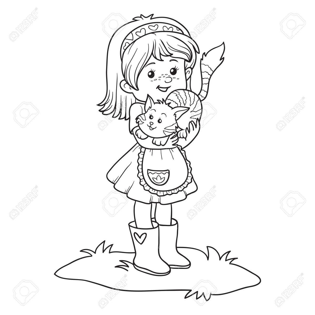 Coloriage Fille Avec Chat.Livre A Colorier Pour Les Enfants Petite Fille Avec Chat Mignon