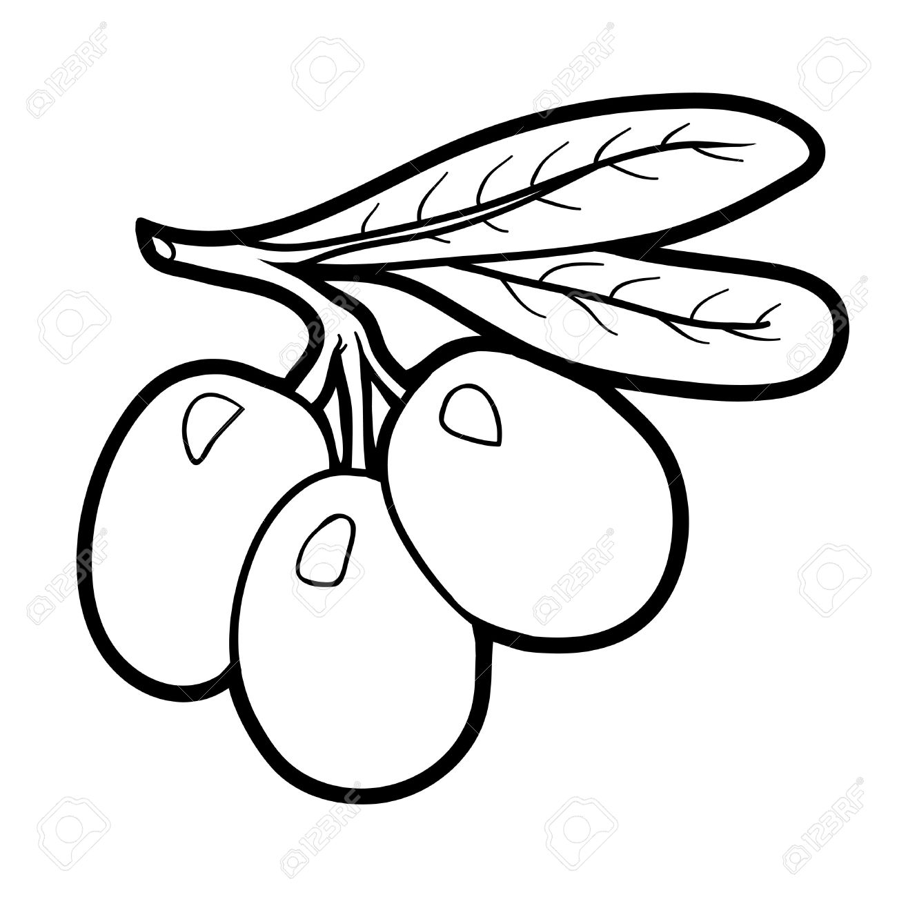 Coloring Book For Children Fruits And Vegetables Olives Stock Vector