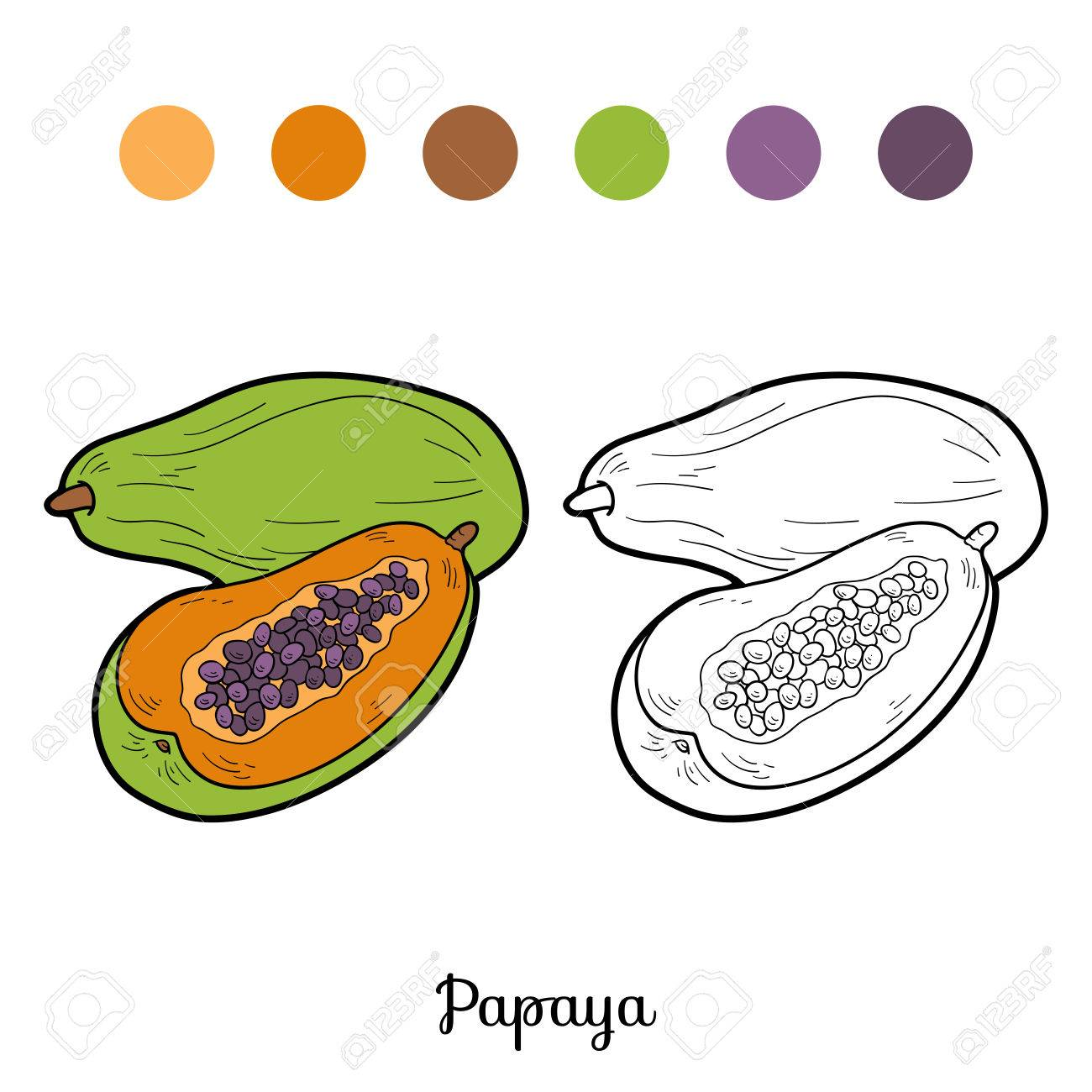 Libro Para Colorear Para Niños Frutas Y Hortalizas Papaya