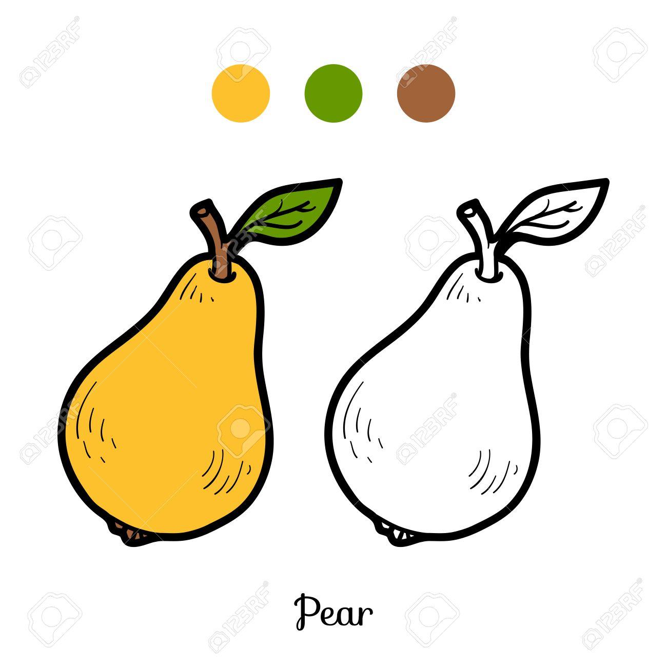 Libro Para Colorear Para Niños Frutas Y Hortalizas Pera