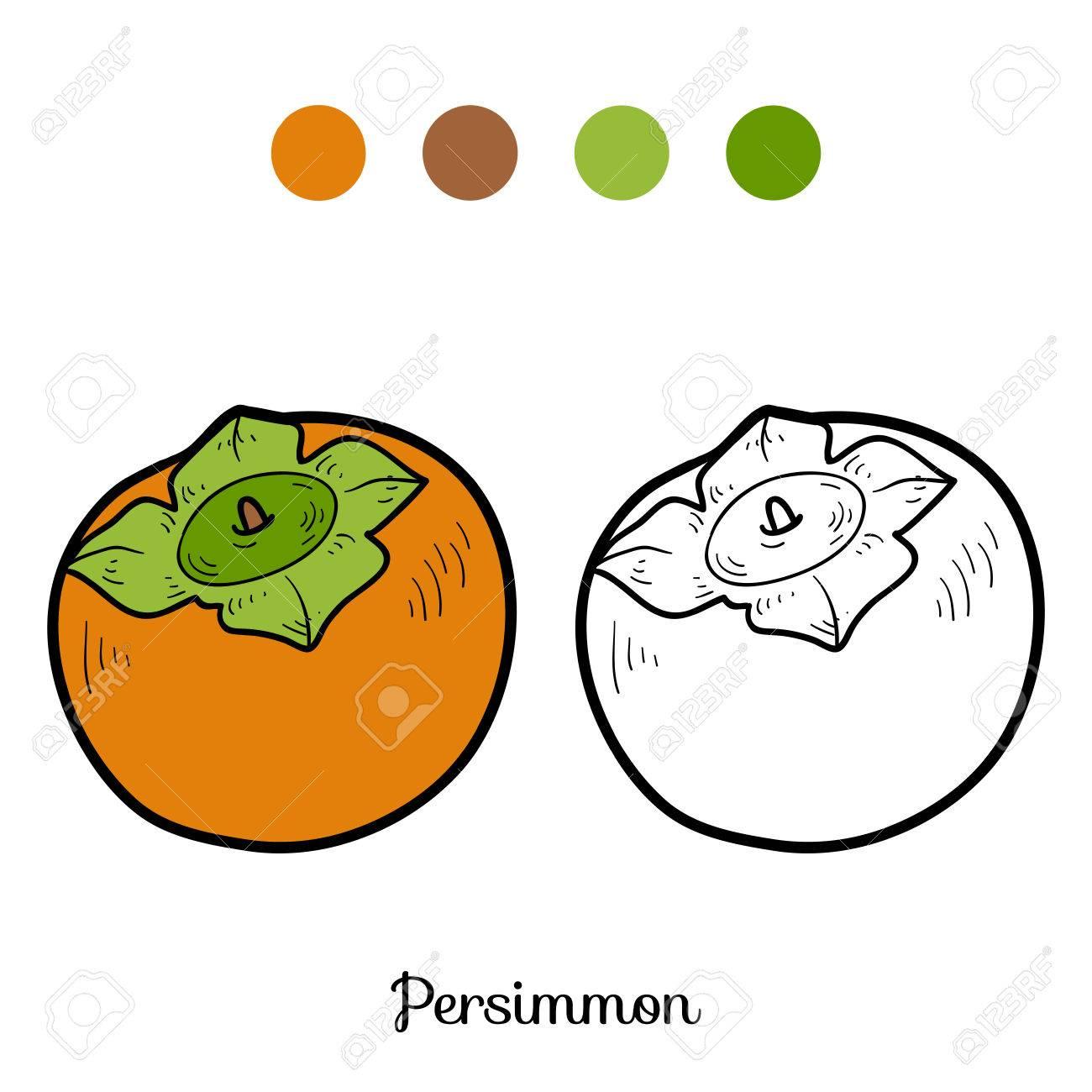 Coloriage Fruit Kaki.Livre De Coloriage Pour Les Enfants Les Fruits Et Legumes Kaki