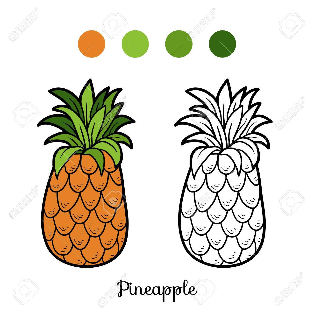 Libro Para Colorear Para Ninos Frutas Y Verduras Pina