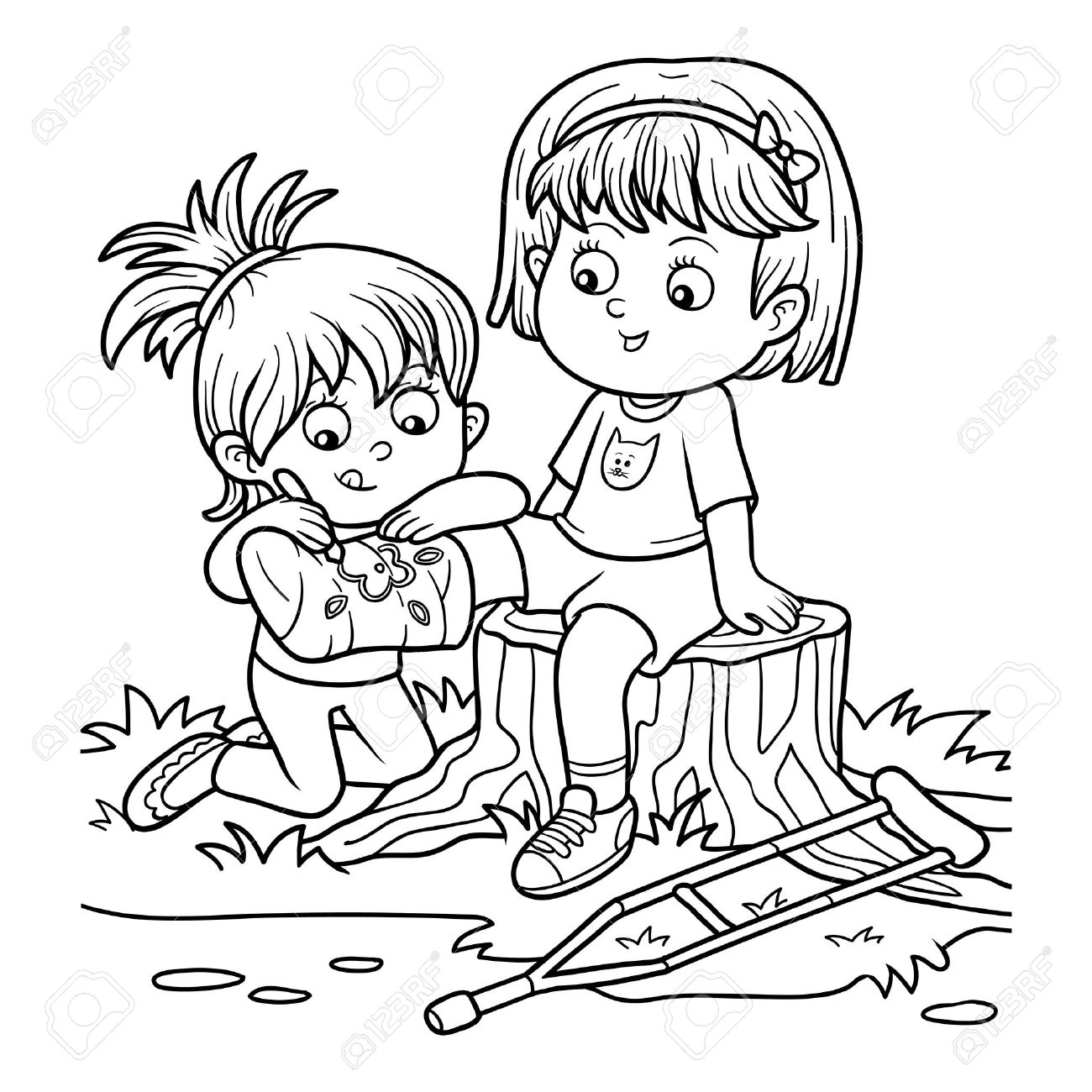 Coloring book for children (Two girls on the glade, Girl draws..