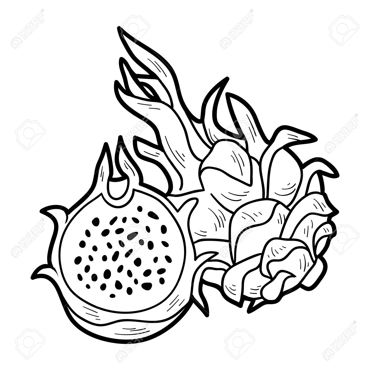 Coloring Book Game For Children Fruits And Vegetables Dragon Fruit Stock Vector