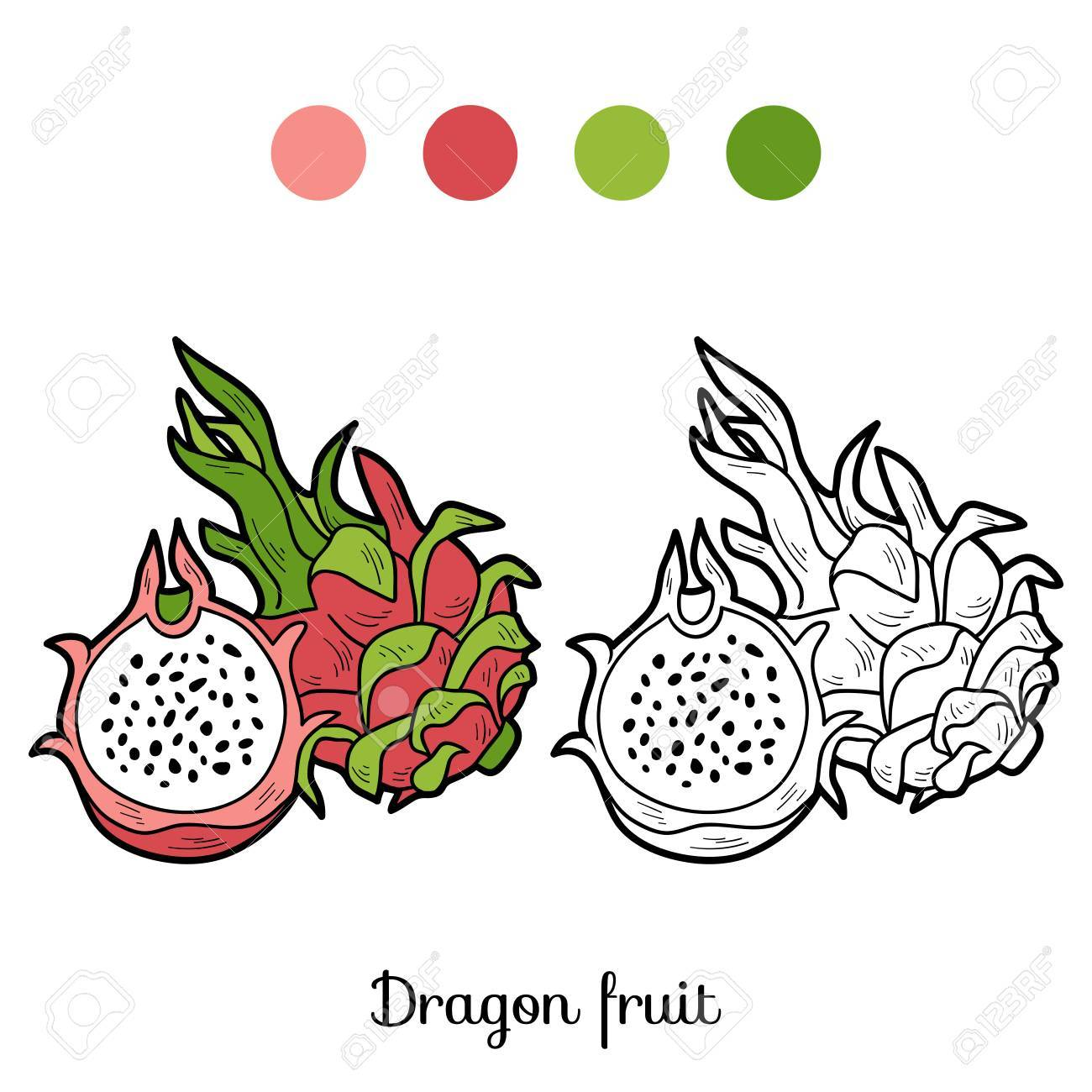 Coloring Book Game For Children: Fruits And Vegetables (dragon ...