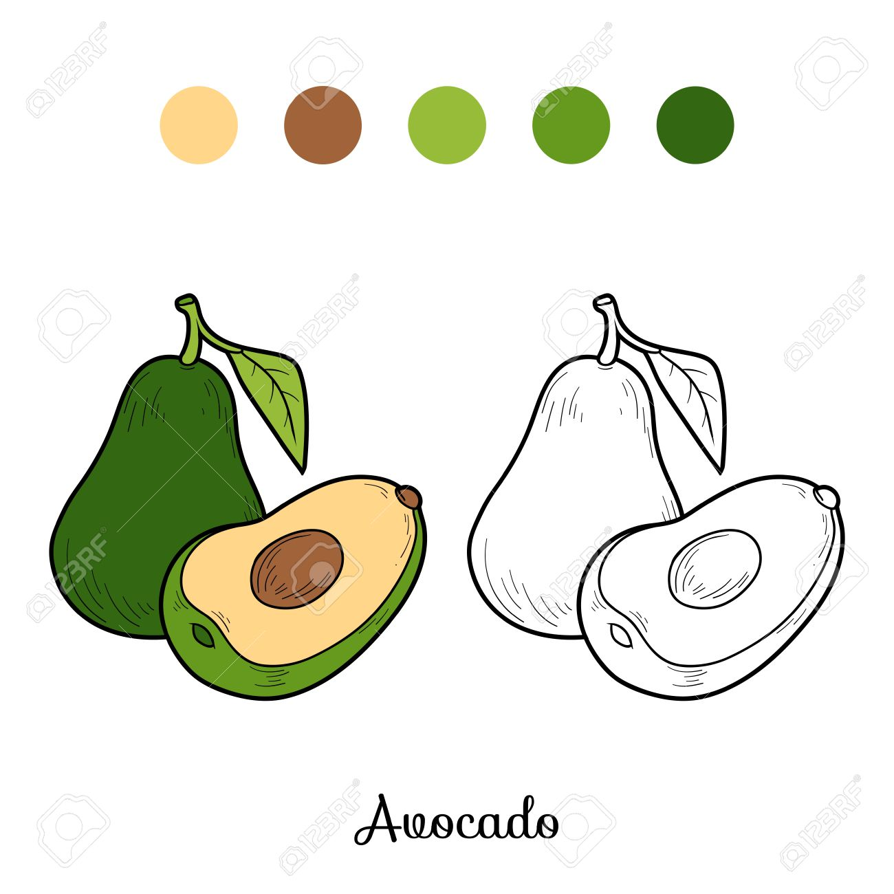 Juego Libro Para Colorear Para Niños: Frutas Y Vegetales (aguacate ...