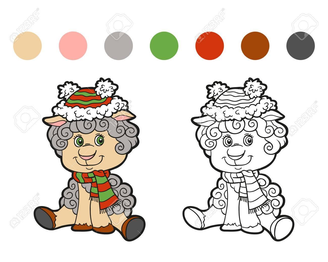 塗り絵 クリスマス冬羊子供のためのゲーム ロイヤリティフリー