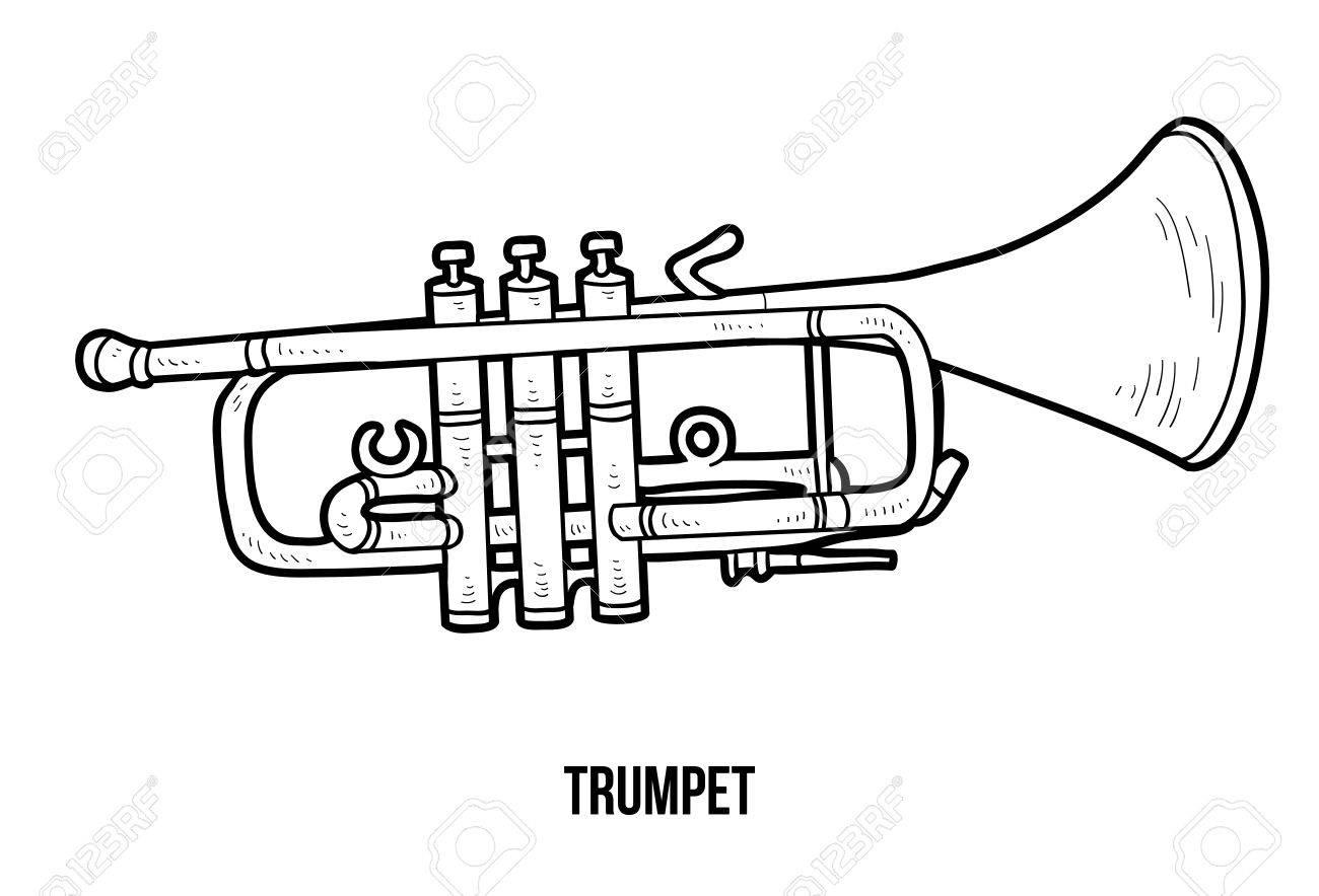 Libro Para Colorear Para Niños: Instrumentos Musicales Trompeta