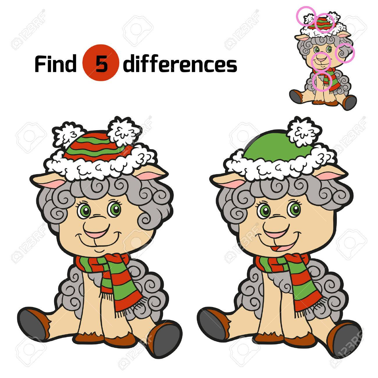 Finde Die Unterschiede: Weihnachten Winter Schafe. Spiel Für Kinder ...