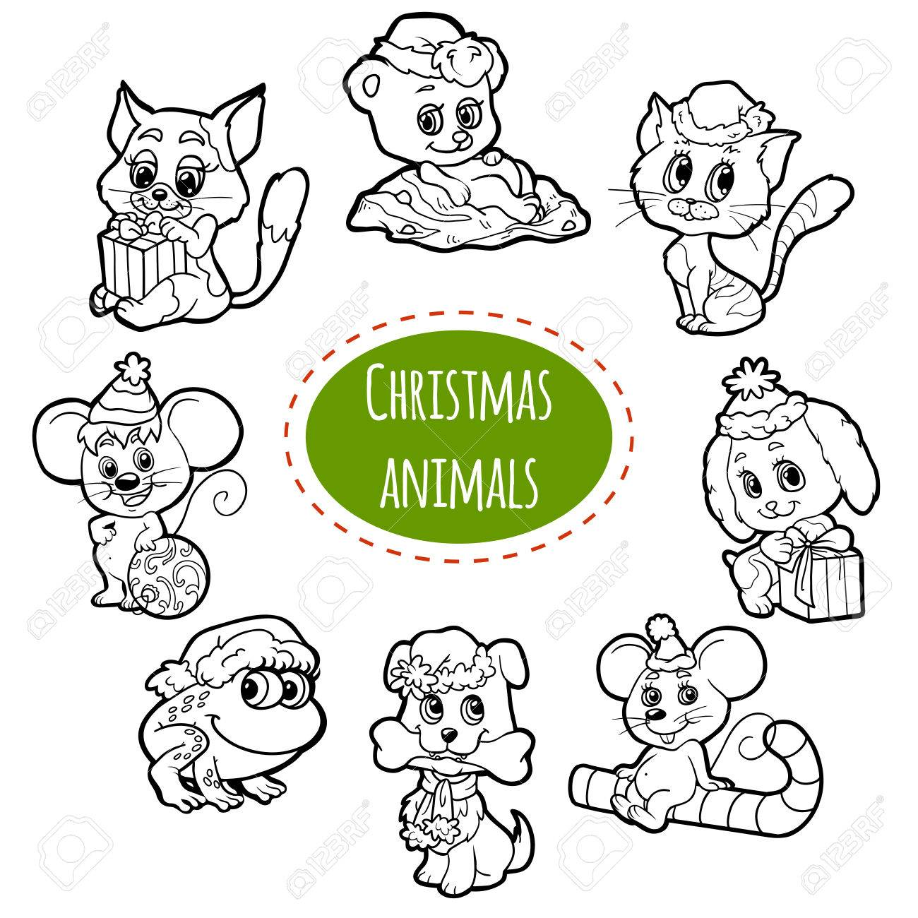 Vector Colorless Set Of Christmas Cute Animals, Cartoon Collection ...