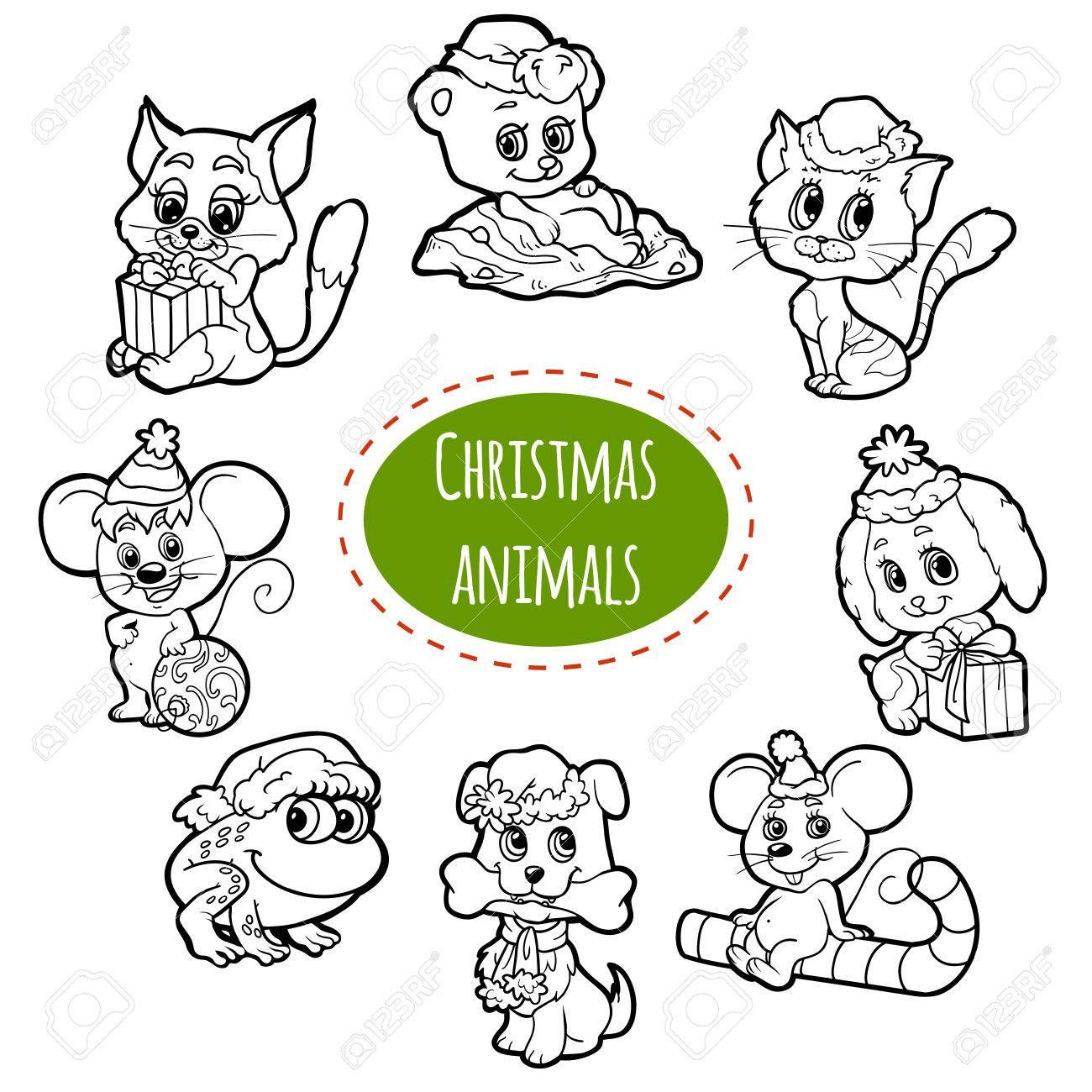 Vector Farblose Reihe Von Weihnachten Süße Tiere, Cartoons ...