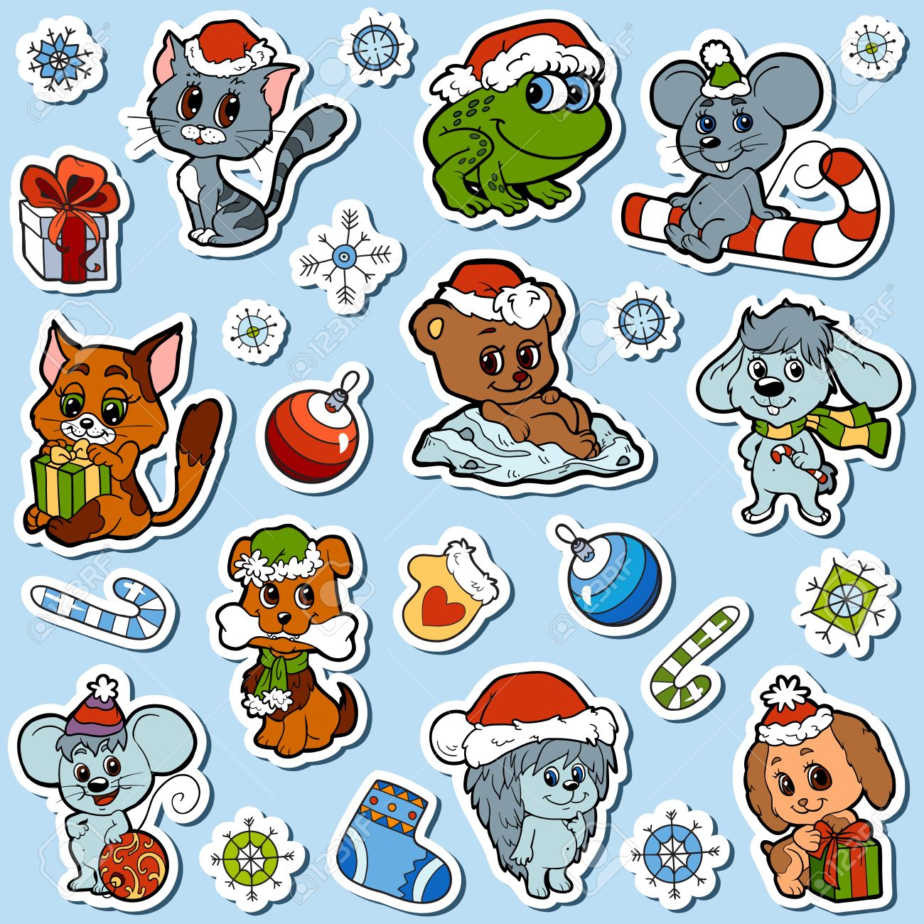vector set of christmas cute animals color cartoon collection