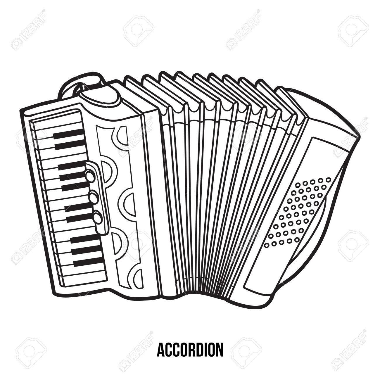 Dessin Accordéon livre de coloriage pour les enfants: les instruments de musique