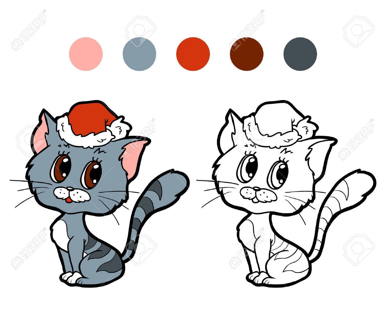 Libro Para Colorear Para Los Niños Gato De La Navidad Ilustraciones ...