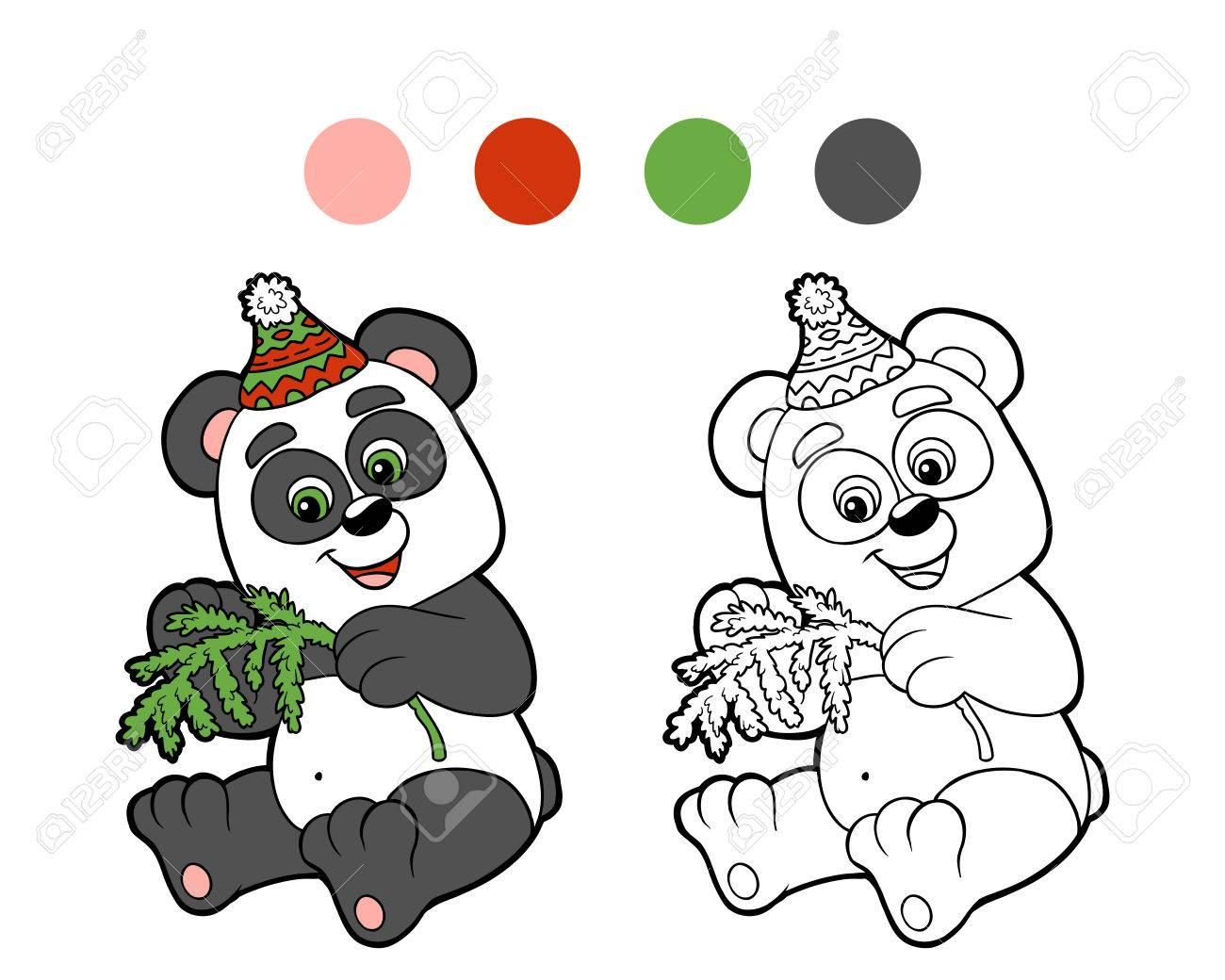 Livre De Coloriage Noel De Panda D Hiver Jeu Pour Les Enfants