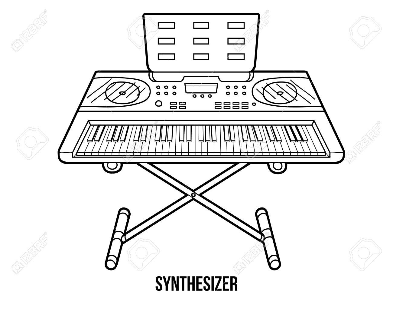 Libro Para Colorear Para Niños: Instrumentos Musicales Sintetizador ...