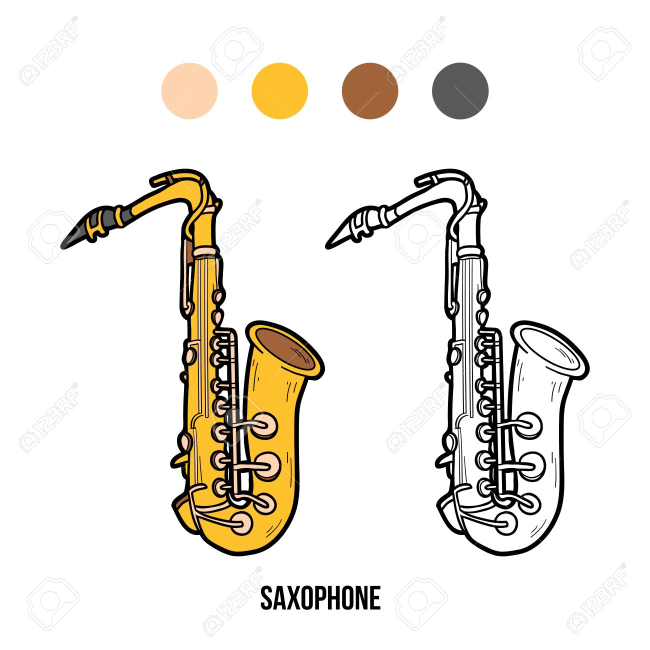 Libro Para Colorear Para Niños Instrumentos Musicales Saxofón