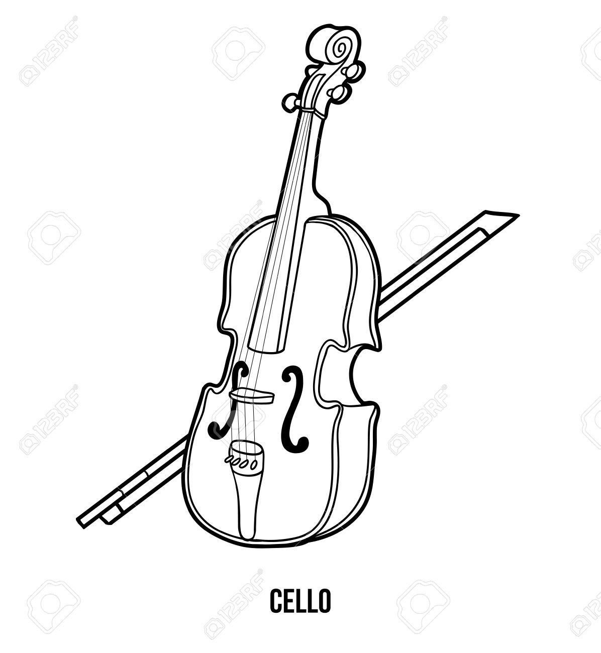 Coloring instruments - Coloring Book For Children Education Game Musical Instruments Cello Stock Vector