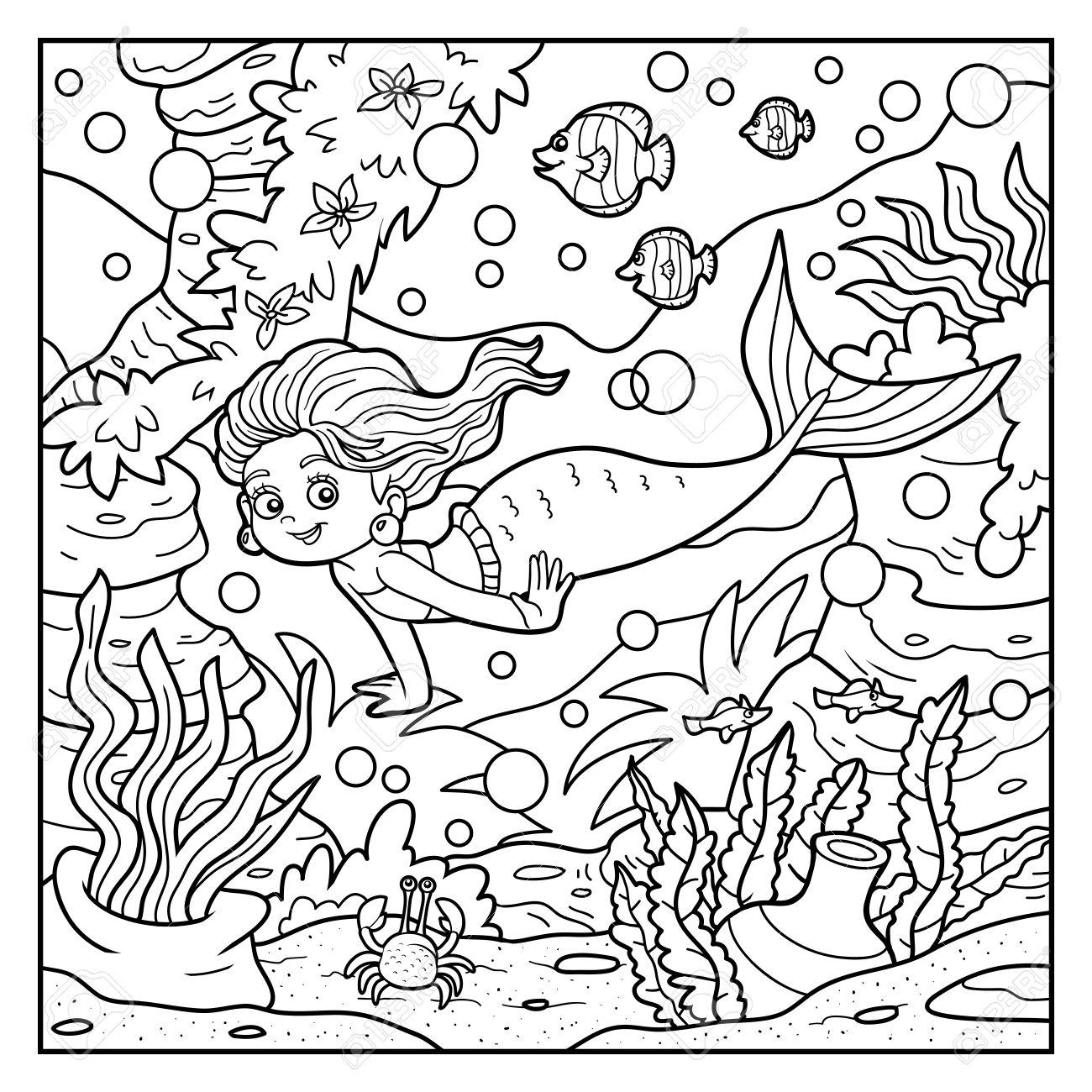 coloring book for children little mermaid and sea world royalty