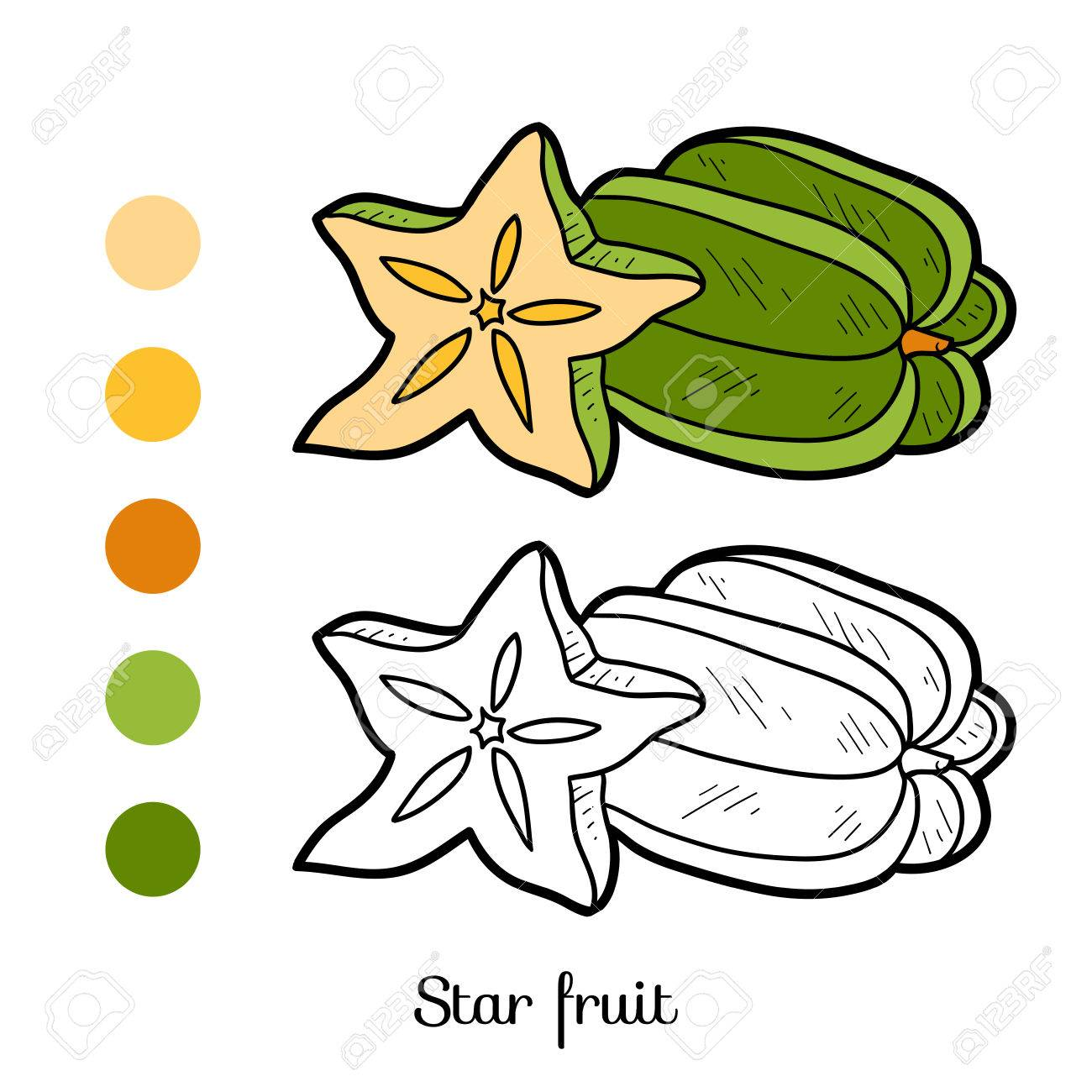 Coloring Book For Children Fruits And Vegetables Star Fruit Stock Vector