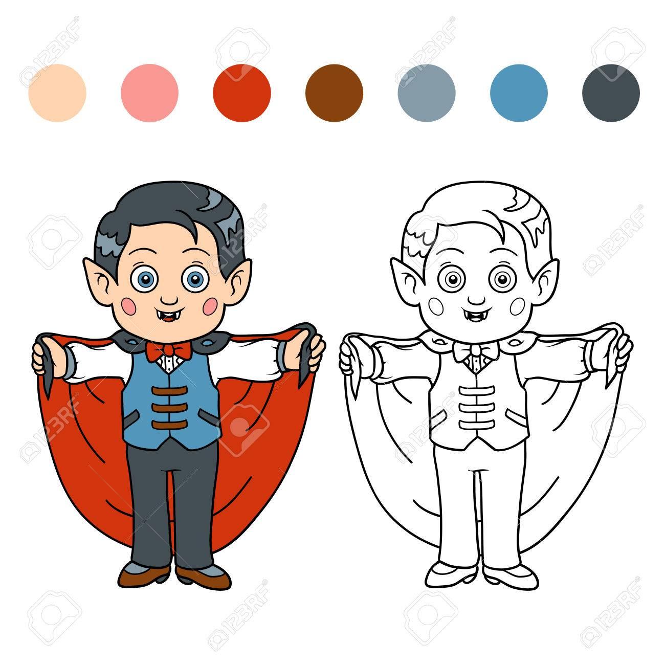 Libro Para Colorear Para Niños: Personajes De Halloween (vampiro ...