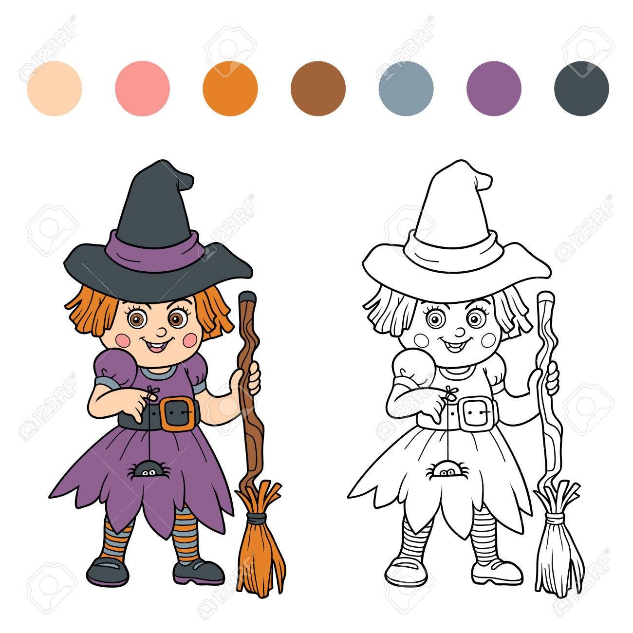 Finden Sie Unterschiede Für Kinder: Halloween Zeichen (Mädchen Hexe ...