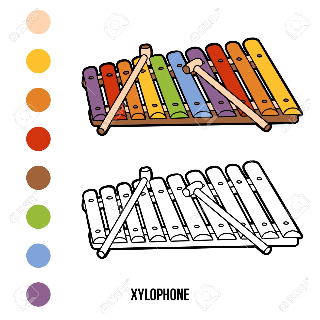 Coloring Book For Children Musical Instruments Xylophone Stock Vector