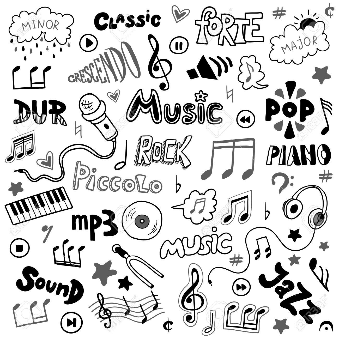 Vector set of hand drawn doodles on music theme colorless music vector set of hand drawn doodles on music theme colorless music symbols and words stock buycottarizona