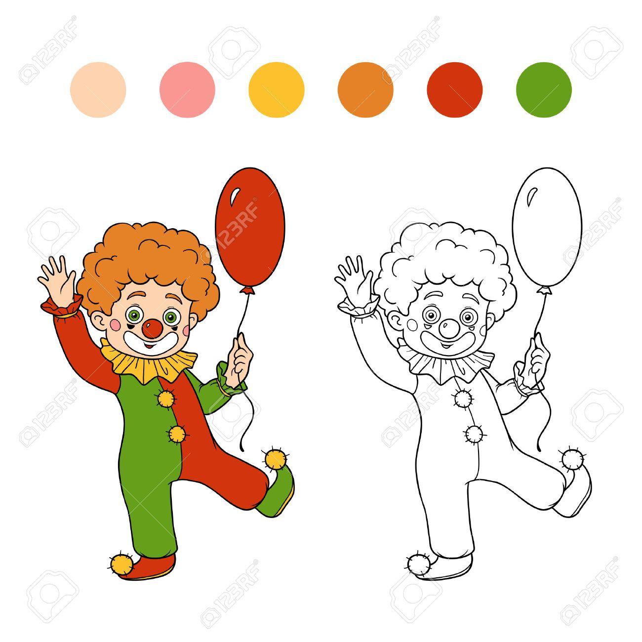 子供のための塗り絵 ハロウィン文字 ピエロと風船のイラスト素材