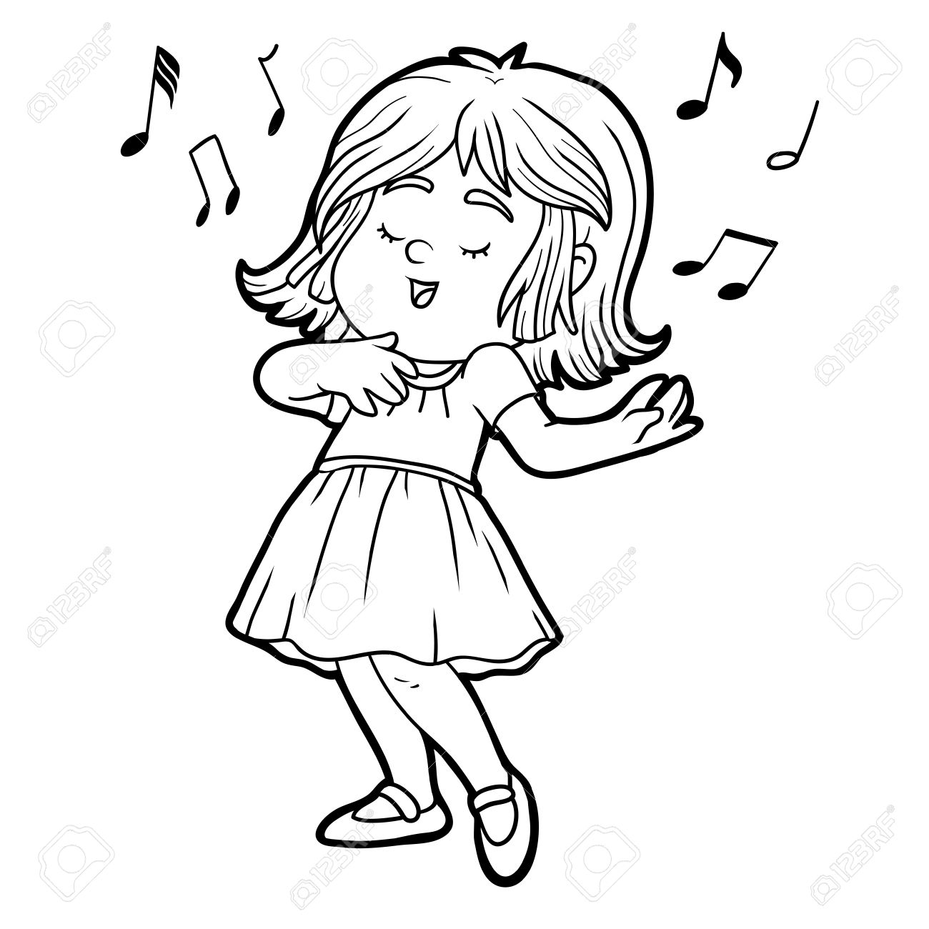Coloring Book For Children: Little Girl In A Red Dress Is Singing ...