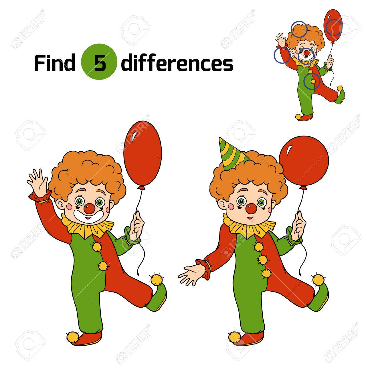 find differences game for children halloween characters clown